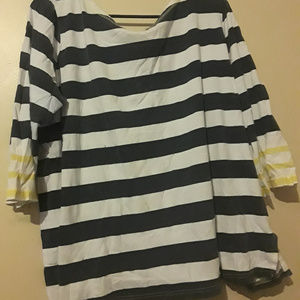 Navy and White Half-Sleeve Striped Blouse